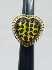 Vintage Betsey Johnson Leopard Heart Lucite Ring Size 7