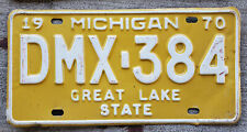 1970 White on off-Yellow Michigan License Plate DMX = Genesee County
