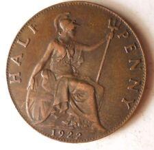 1922 GREAT BRITAIN 1/2 PENNY - Key Coin of Series - AU-FREE SHIP - Britain Bin C