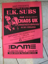 Rare UK SUBS & CHAOS UK Concert Poster, London, Punk KBD, Sex Pistols, The Clash