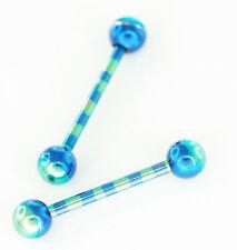 "Pair 14g 5/8"" Titanium Blue/Green Tongue Rings,  Nipple Barbells 5mm Ball"