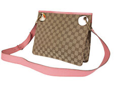 GUCCI GG Web Canvas Leather Browns Pink Crossbody Shoulder Bag GS2555