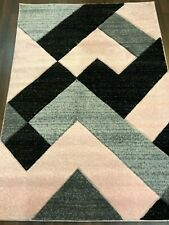 NEW RANGE WOVEN RUG HAND CARVED APROX 6X4FT 120X170CM GREY/BLUSH PINK GREAT RUGS