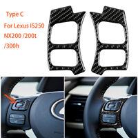 Typ-C Kohlefaser-Lenkradknopf Dekorverkleidung für Lexus IS 250 350 300H 2013-17