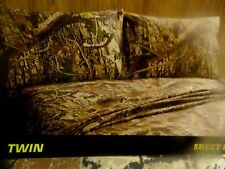 New 3 pc CAMO~Twin SHEET SET~Fishing~Hunting Cabin~LODGE Brown Tans camouflage