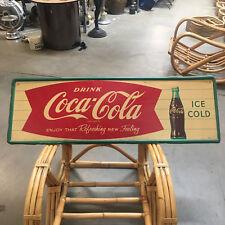 "1963 Coca-Cola Fishtail Metal Tin Sign 54"" Original Robertson 4-63"