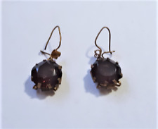 Antique Victorian Edwardian Gold Plated Dangle Drop Purple Glass Stone Earrings