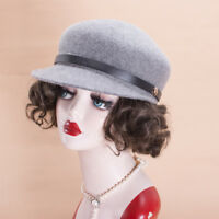 Womens Cabbie Ivy Baseball 100% Wool Felt Cap Newsboy Winter Cap Hats X493
