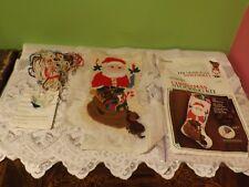 """Waiting For Santa Christmas Stocking Needlepoint Kit 16"""" Almost Finished"""
