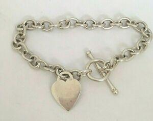 Vintage Solid Silver Heart Charm Chain Link Bracelet