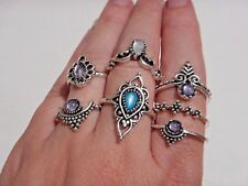 7 BOHO RINGS SET silver blue jelly belly stone tibetan ethnic finger bohemian 2A