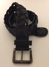 H&M Women's Black Woven Leather Belt US 35 36 EUR 90 #863180 Brass Buckle