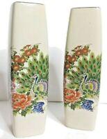 Two ceramic asian Japanese peacock vases, vibrant colors & beautiful gold detail