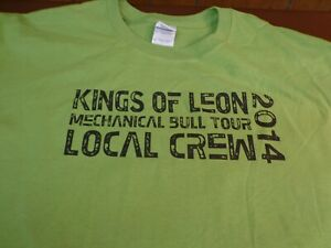 2014 KINGS OF LEON MECHANICAL BULL LOCAL CREW CONCERT MENS XL GREEN  T-SHIRT  A6