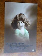 R158 'MANY LUCKY RETURNS' Birthday Greetings Postcard Young Girl