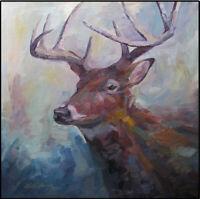 Kadi Love Keener Original Oil Painting Deer Buck Wildlife Bold Impressionism