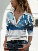 Women Long Sleeve V Neck T-shirt Ladies Tops Blouse Baggy Pullover Plus Size