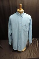 Faconnable MENS BUTTON FRONT XL SHIRT white blue striped  LONG SLEEVE