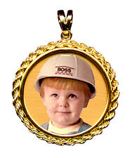 Charm with Rope Keep Sake Picture Pendant New Custom Design 14K Gold Round Photo