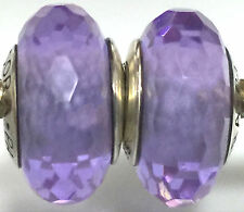 2 pieces  Authentic Pandora 925 ale silver beads charm glass purple clear