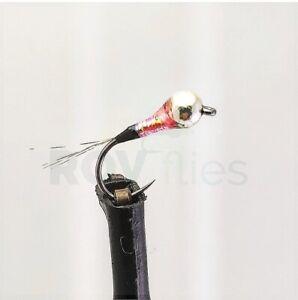 Ninfa Perdigón de pesca mosca negra rosa, tungsteno trucha S/M y C/M  rovflies