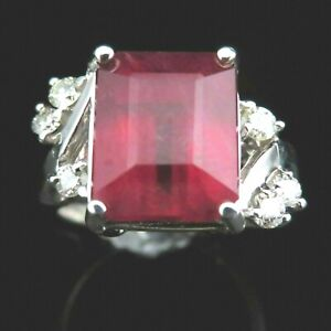 Estate Emerald Cut 7.3ct Ruby Diamond 14k White Gold Ring Red Engagement Gift