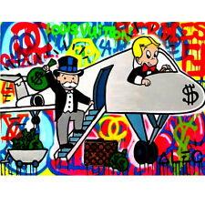 """Alec Monopoly """"Airplane"""" Oil Painting on Fabric Urban Art Wall Decor Poster"""