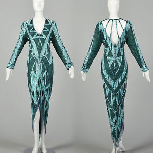 1980s Large Bob Mackie Beaded Gown Caged Back Hi Low Beaded Fringe Hem VTG 80s