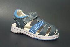 New $80 KICKERS Platinium Toddler Boys LEATHER Sandals Blue Size 8 USA/24 EURO