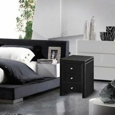 Glass Modern Bedside Tables & Cabinets with 3 Drawers