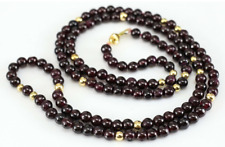 "Red Garnet Necklace 26"" Beads w/ 14kt Gold Filled Clasp & Beads --  6mm"