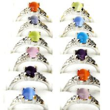 50Pcs Wholesale Mixed Lots Vintage Cat Eyes Gemstone Silver Plated Rings Gift