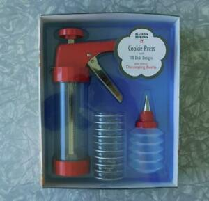 Kuhn Rikon Clear Cookie Press & Decorating Bottle w/10 disks Switzerland New