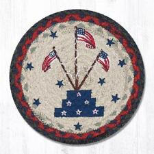 NEW Primitive Country PATRIOTIC 100% Natural Braided Jute AMERICAN FLAG Placemat