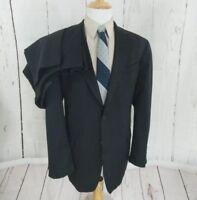 Stafford 44L Suit Mens 2 Button Classic Fit 38x30 Flat Front Black Wool