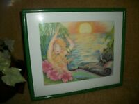 Sea Mermaid at Sunset Framed Art Print by R Elaine Holm Ocean Fantasy Wall Decor