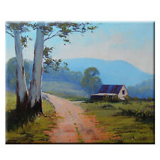 Gercken LANDSCAPE PAINTING VALLEY FARM SHED BARN IMPRESSIONIST OIL