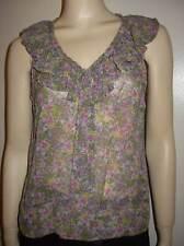 FEI Anthropologie 100% Silk Sheer Lavender Floral Ruffle Top Shirt Blouse 8