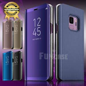 Clear Mirror View Stand Cover Rugged Smart Case For Samsung Galaxy S9 Plus S9+