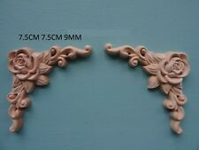 Decorative wooden rose corners x 2 appliques furniture mouldings onlay WK23