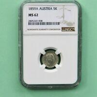 1859A  Austria 5 Kreuzer, KM # 2197, NGC  MS 62