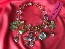 Betsey Johnson Flower Boost SPARKLY Crystal Beetle Floral Charm Bracelet RARE