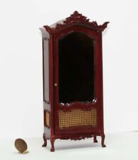Dollhouse Miniature Victorian Mahogany Mirrored Armoire with Cane Insets