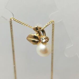 9 Carat Gold 5mm Pearl Pendant With 1mm Diamond