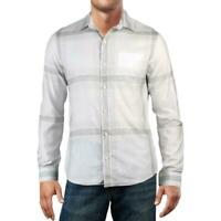 DKNY Mens White Size Small S Boxed Plaid Pocket Button Down Shirt $79 #425