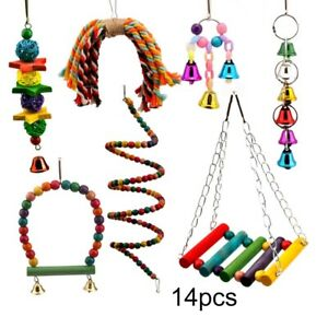 14Pack Parrot Set Toys Metal Rope Small Ladder Stand Budgie Cockatiel Cage Bird