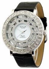 Edle Omax Damenuhr Silber Weiss Glasboden PU Leder Armbanduhr EAN 4212345004025