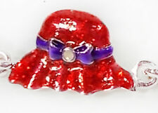 RED HAT & SHOE MAGNETIC SILVERTONE BRACELET FOR THE RED HAT LADIES OF SOCIETY