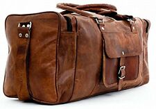 """New 24"""" Genuine Leather Duffle Bag, Men Overnight Carry-On Travel Luggage Gym"""