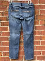 Cache  Size 2 Small Leopard Print Straight Skinny Jeans Blue Denim Cropped Pants